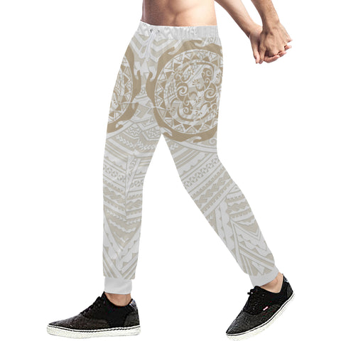 Maori Tangaroa Tattoo New Zealand Sweatpants with Golden mix White color - Front - For Men 02