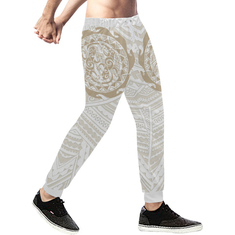 Maori Tangaroa Tattoo New Zealand Sweatpants with Golden mix White color - Front - For Men 01