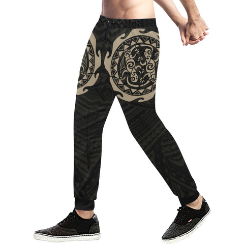 Maori Tangaroa Tattoo New Zealand Sweatpants with Black mix Golden color - Front - For Men 02