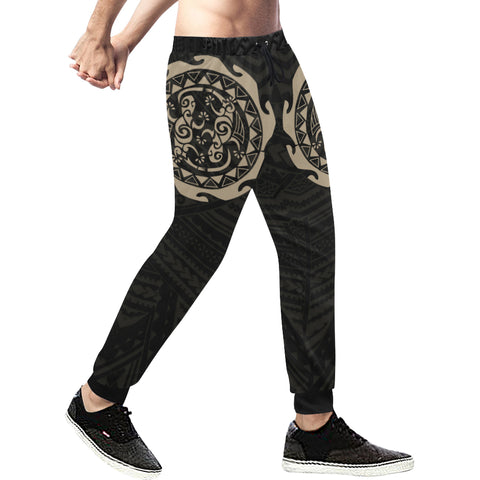Maori Tangaroa Tattoo New Zealand Sweatpants with Black mix Golden color - Front - For Men 01