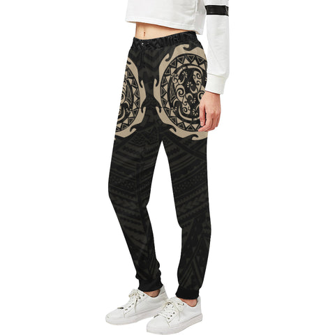 Maori Tangaroa Tattoo New Zealand Sweatpants with Black mix Golden color - Front - For Women 01