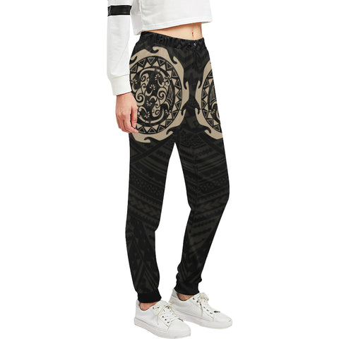 Maori Tangaroa Tattoo New Zealand Sweatpants with Black mix Golden color - Front - For Women 02