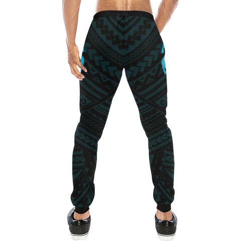 Maori Tangaroa Tattoo New Zealand Sweatpants with Black mix Blue color - Back - For Men