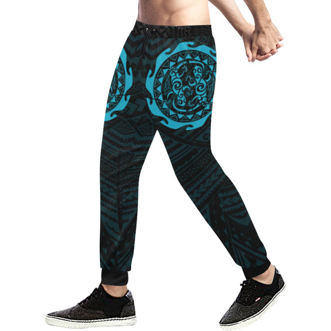 Maori Tangaroa Tattoo New Zealand Sweatpants with Black mix Blue color - Front - For Men 02