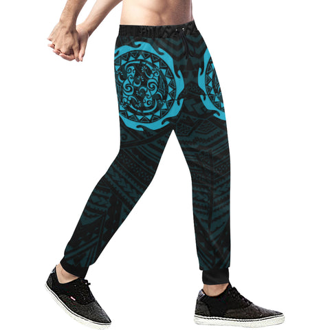 Maori Tangaroa Tattoo New Zealand Sweatpants with Black mix Blue color - Front - For Men 01