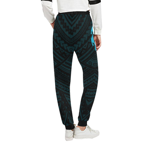 Maori Tangaroa Tattoo New Zealand Sweatpants with Black mix Blue color - Back - For Women