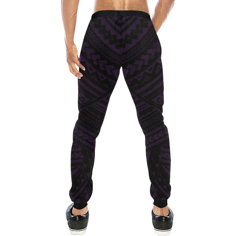 Maori Tangaroa Tattoo New Zealand Sweatpants with Black mix Purple color - Back - For Men