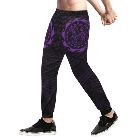 Maori Tangaroa Tattoo New Zealand Sweatpants with Black mix Purple color - Front - For Men 02