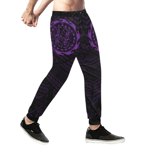 Maori Tangaroa Tattoo New Zealand Sweatpants with Black mix Purple color - Front - For Men 01