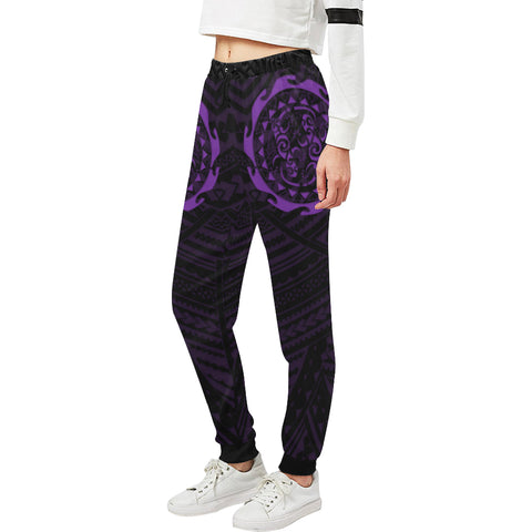 Maori Tangaroa Tattoo New Zealand Sweatpants with Black mix Purple color - Front - For Women 02