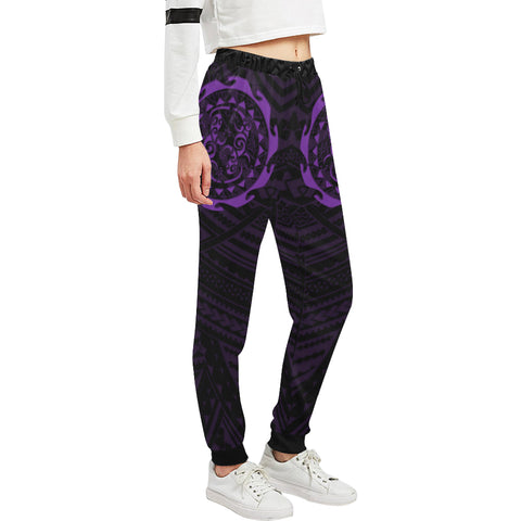 Maori Tangaroa Tattoo New Zealand Sweatpants with Black mix Purple color - Front - For Women 01