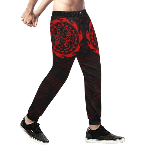 Maori Tangaroa Tattoo New Zealand Sweatpants with Black mix Red color - Front - For Men 01