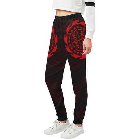 Maori Tangaroa Tattoo New Zealand Sweatpants with Black mix Red color - Front - For Women 02