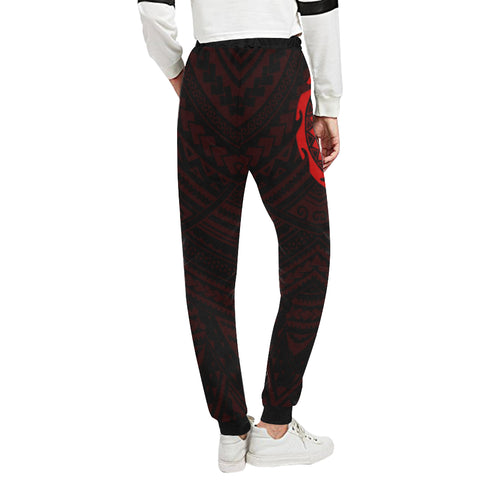 Maori Tangaroa Tattoo New Zealand Sweatpants with Black mix Red color - Back - For Women