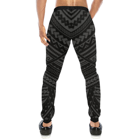 Maori Tangaroa Tattoo New Zealand Sweatpants with Black mix White color - Back - For Men