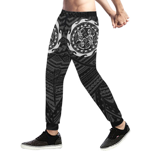 Maori Tangaroa Tattoo New Zealand Sweatpants with Black mix White color - Front - For Men 02