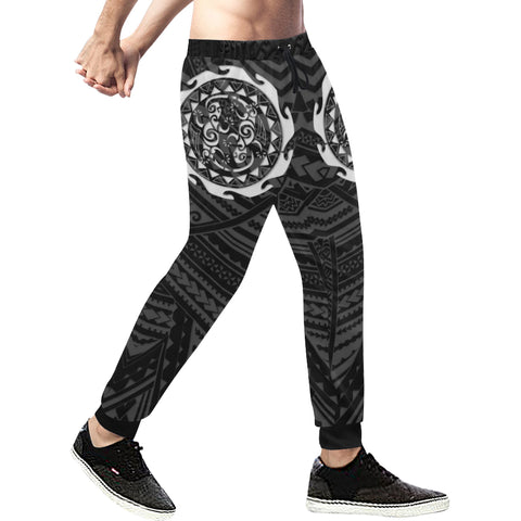 Maori Tangaroa Tattoo New Zealand Sweatpants with Black mix White color - Front - For Men 01
