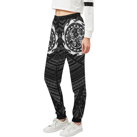 Maori Tangaroa Tattoo New Zealand Sweatpants with Black mix White color - Front - For Women 01