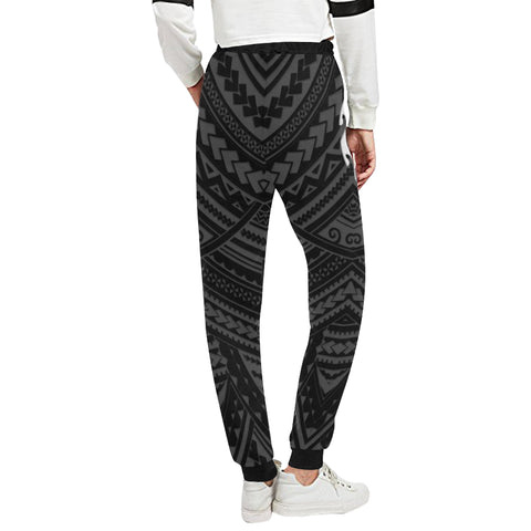 Maori Tangaroa Tattoo New Zealand Sweatpants with Black mix White color - Back - For Women