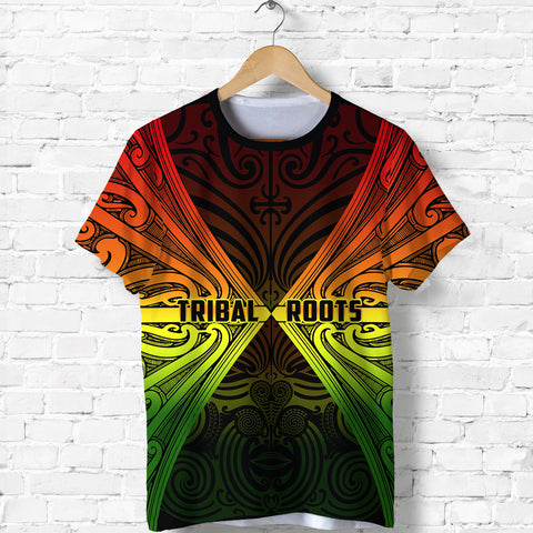 Image of Maori Aotearoa Tribal Roots T Shirt Rasta front | Clothing | Love New Zealand