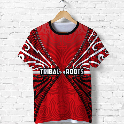 Image of Maori Aotearoa Tribal Roots T Shirt Red | Clothing | Love New Zealand