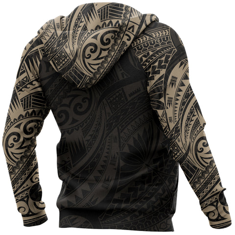 Turtle Maori Tattoo All Over Hoodie Gold K4 - 1st New Zealand