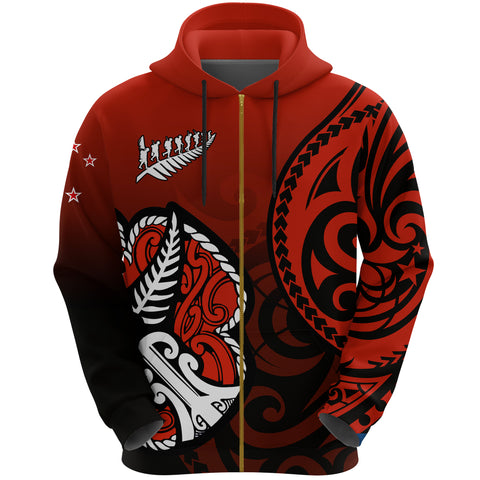 Image of Lest We Forget - Maori Poppy Pullover Zip Hoodie Th00 - 1st New Zealand