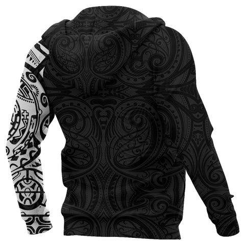 New Zealand Maori Zip Hoodie, Maori Warrior Tattoo Full Zip Hoodie - White A75 - 1st New Zealand