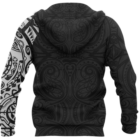 Maori Zip Hoodie, Maori Warrior Tattoo Full Zip Hoodie White - Customized A75 - 1st New Zealand