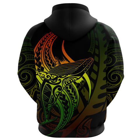 Image of Maori Hoodie Whale Tattoo, Humpback Whales New Zealand Pullover Hoodie Rasta K4 - 1st New Zealand