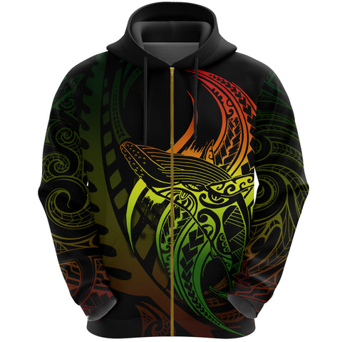 Image of Maori Zip Hoodie Whale Tattoo, Humpback Whales New Zealand Pullover Hoodie Rasta K4 - 1st New Zealand