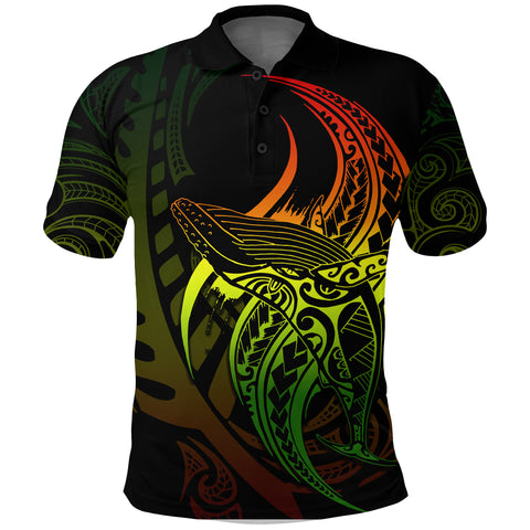 Maori Polo Shirt Whale Tattoo, Humpback Whales New Zealand Golf Shirt Rasta K4 - 1st New Zealand