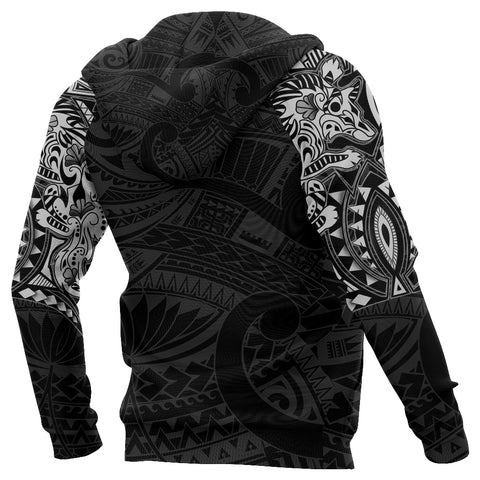 New Zealand Zip Up Hoodie, Maori Tattoo Wolf Dragon Zipper Hoodie - White K4 - 1st New Zealand