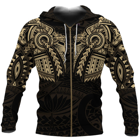 New Zealand Zip Up Hoodie, Maori Tattoo Wolf Dragon Zipper Hoodie - Gold K4 - 1st New Zealand