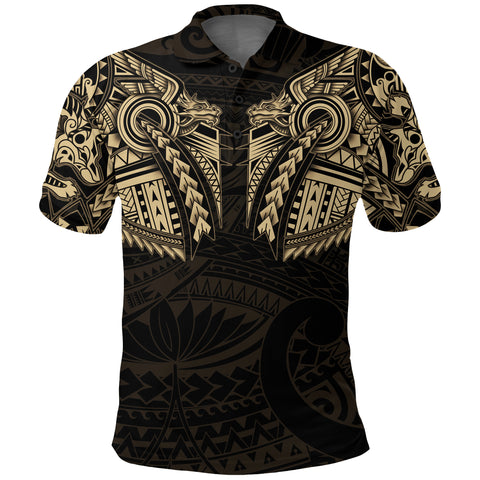 New Zealand Polo Shirt, Maori Tattoo Wolf Dragon Golf Shirt - Gold K4 - 1st New Zealand