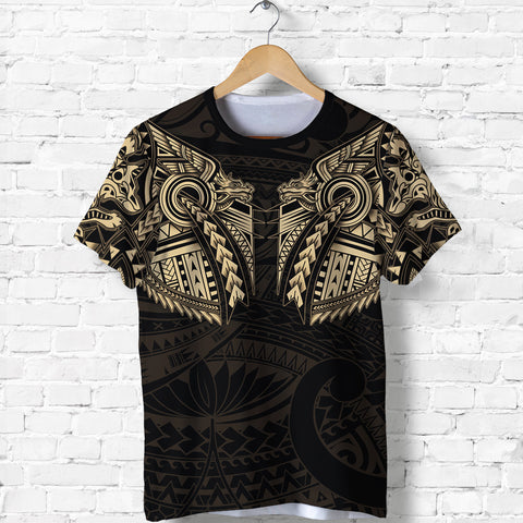New Zealand Shirt, Maori Tattoo Wolf Dragon T Shirt - Gold K4 - 1st New Zealand