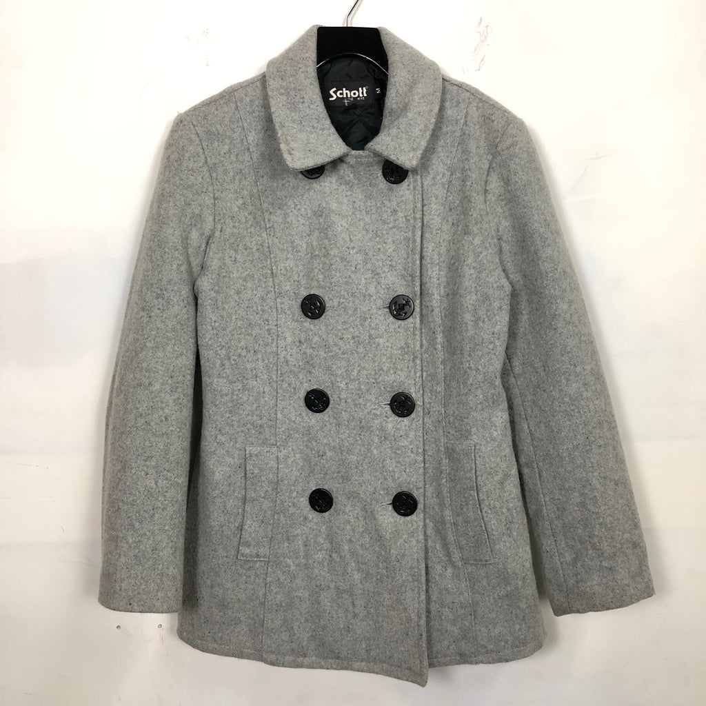 VTG 90s 00s Schott NYC Wool Double Breast Pea Coat Womens SZ M Jacket Naval Navy Overcoat Winter Snow Military Outdoors A5