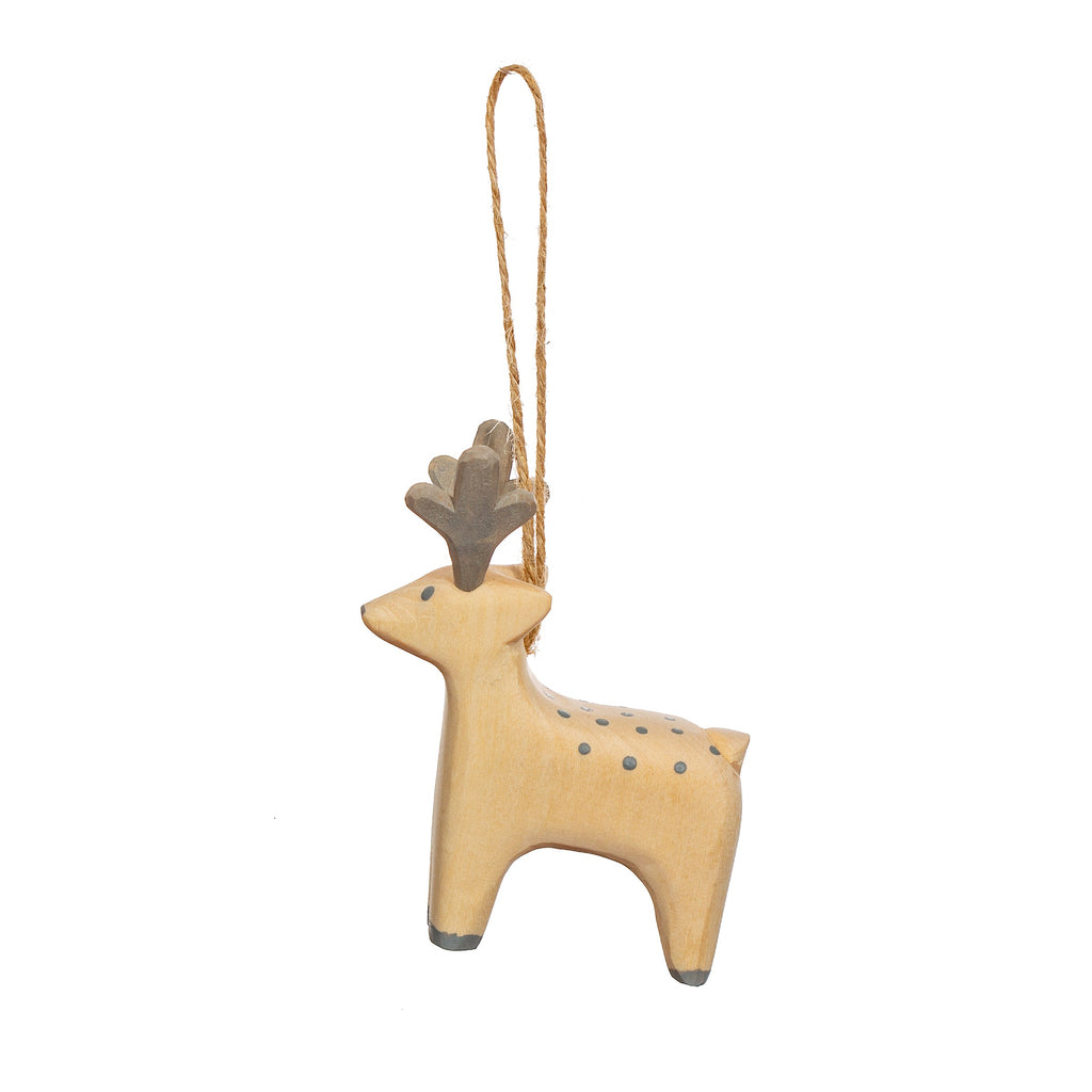 Handcarved Wooden Reindeer Hanging Ornament