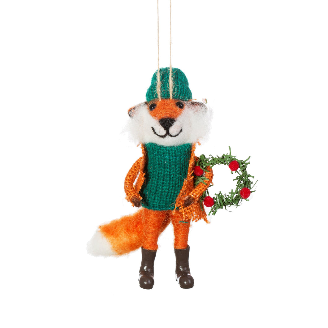 Fox with Wreath Felt Decoration