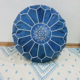 Blue Jean Leather Pouf