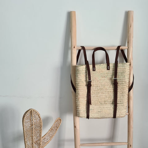 Moroccan Straw Backpack Basket