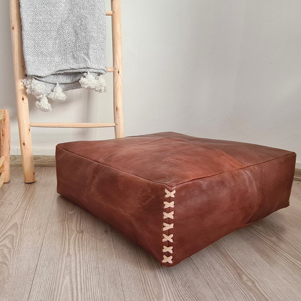 Square Xl Leather Pouf Footstool