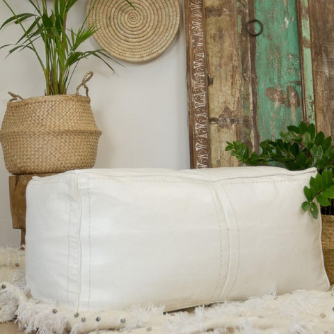Rectangle Leather Ottoman Pouf