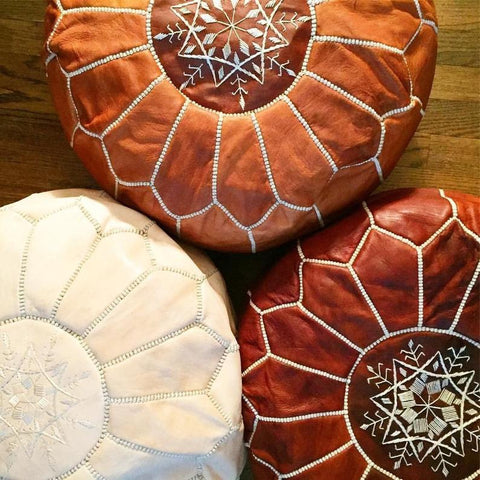 Moroccan round Ottoman Leather Pouf