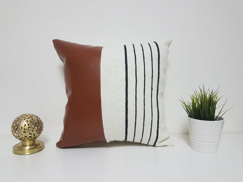 Modern cotton and faux leather Pillow Cover