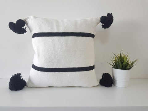 Set of 2 pom pom cushion cover - DAMYA