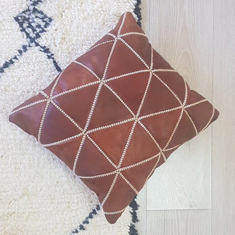 Embroidery Leather cushion Cover