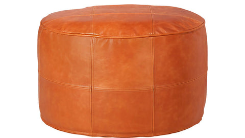 Large Round Moroccan ottoman leather pouf / Footstool living room