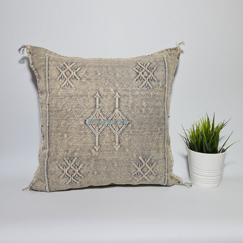 Light Grey cactus sabra cushion cover for your living room , bohemian handmade berber Moroccan Bohemian cactus pillow cover