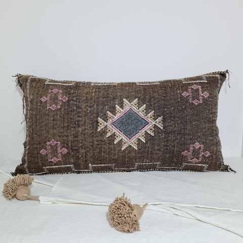 Large Soft Brown Moroccan sabra Cactus Pillow cover , handmade Large Lumbar berber Moroccan Boho cactus cushion cover 37X20